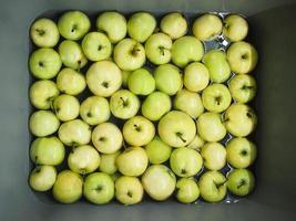 grüne Sommeräpfel im Waschbecken foto