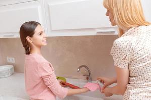 Mutter und Tochter spülen Geschirr