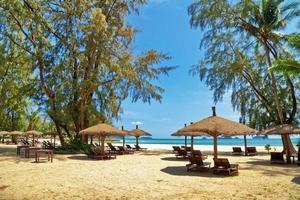 Holzstühle und Sonnenschirme am weißen Sandstrand