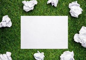 weißes Blatt Papier mit zusammengedrückten Blättern im Gras