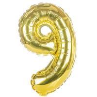 Goldballonschrift Teil des vollständigen Satzes von Zahlen, 9 foto