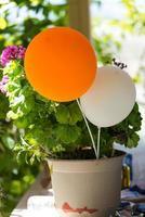 weißer und orangefarbener Ballon. foto