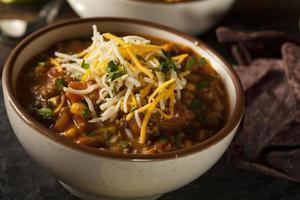 Nahaufnahme von Santa Fe Suppe in Schüssel mit Käse oben drauf