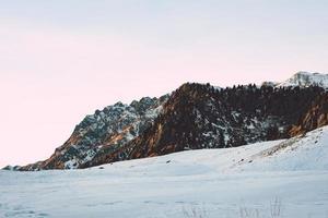 schneebedecktes Feld unter weißem Himmel foto