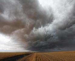 Gewitterwolke über dem Feld foto