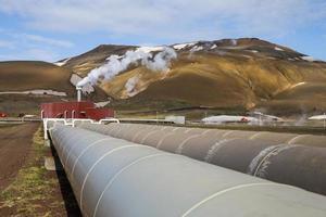 Rohre des Geothermiekraftwerks Krafla
