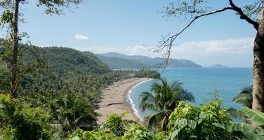 tropischer Strand, umgeben von Laub und Bergen