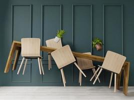 schwebende 3d Tabelle mit grünem Wandhintergrund