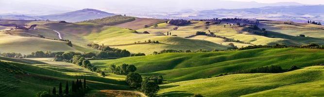 schöne und wundersame Farben der grünen Frühlingspanorama-Landschaft