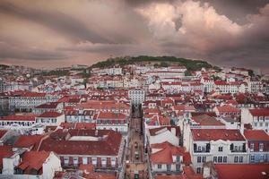 Lissabon Stadt im Sonnenuntergang von oben