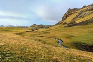 Island, schöne arktische Landschaft, wildes Feld