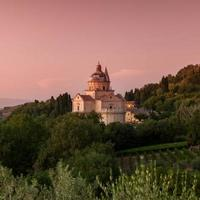 Basilika di San Biagio in der Abenddämmerung, Montepulciano, Toskana, Italien
