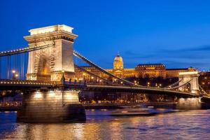 Budapester Burg und Kettenbrücke am Abend, Ungarn