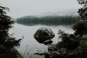 felsige Seelandschaft, umgeben von Bäumen