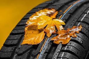 Reifen mit Herbstlaub und Regen foto