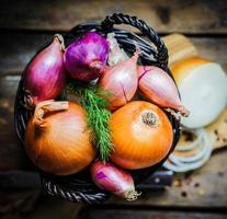 bunte Zwiebeln im Korb auf rustikalem hölzernem Hintergrund