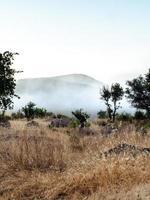 Nebel steigt in den Bergen auf
