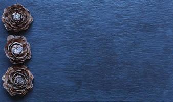Fotografie von Zedernzapfen auf Schiefer foto