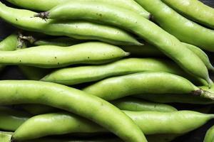 Nahaufnahme von grünen Bohnen foto