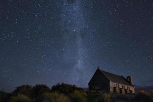 braune Holzkirche unter sternenklarer Nacht