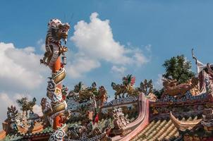 chinesischer Drache auf der roten Stange bei Wat Phananchoeng, Ayutthaya