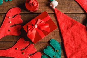 Draufsicht des Weihnachtsgeschenks