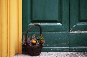 brauner Korb gefüllt mit Blume nahe bunter Türschwelle