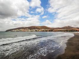 Panoramablick auf das Dorf Gran Tarajal, Fuerteventura, Spanien