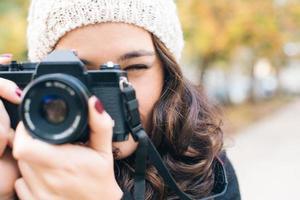 bereit, Kamera zu schießen foto
