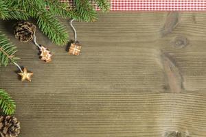 flache Lage der rustikalen Weihnachtsdekoration foto