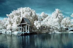 öffentlicher park in nontaburi, thailand im nahen infrarot aufgenommen