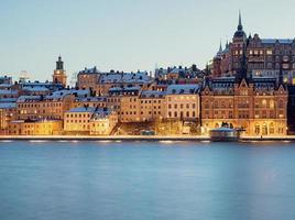 Stockholm Sodermalm in der Nacht. foto