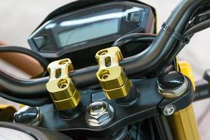 Verriegelungsgriff eines Motorrades foto