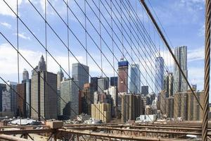 Blick auf die Stadt von der Brooklyn Bridge