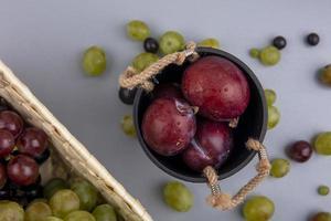 verschiedene Früchte auf neutralem Hintergrund