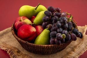 verschiedene Früchte auf rotem Hintergrund