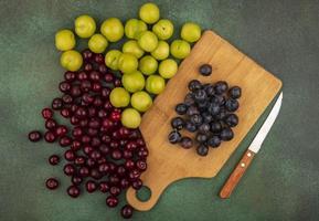 verschiedene Beeren auf grünem Grund