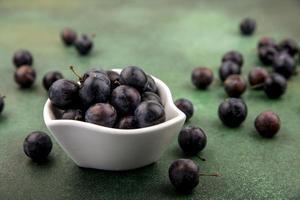 dunkle Beeren in einer weißen Schüssel auf grünem Hintergrund
