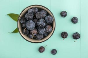 dunkle Beeren lokalisiert auf einem blauen Hintergrund