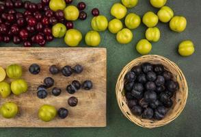 Draufsicht auf Schlehen mit grünen Kirschpflaumen