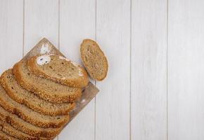 Draufsicht auf geschnittenen braunen Samenkolben foto
