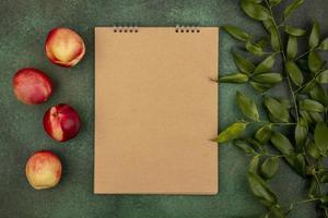 Draufsicht auf ein Muster von Pfirsichen mit Notizblock und Blättern foto