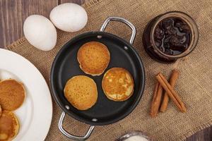 Draufsicht auf Pfannkuchen