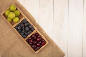 Draufsicht auf frisches Obst auf einem Sacktuch