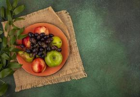 sortierte Frucht auf stilisiertem grünem Hintergrund