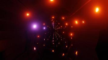bewegliche Lichter auf Sci-Fi-Tunnel 3d Illustration