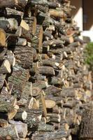 Stapel geschnittenes und arrangiertes Brennholz