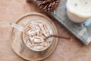 Draufsicht auf einen gefrorenen Latte