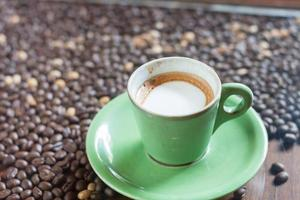 Nahaufnahme einer grünen Kaffeetasse