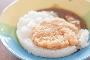 gebratene Schweinefleischspitze auf Reis